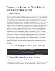 Discuss the Impact of Social Media During the Arab Spring