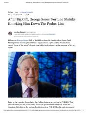 After Big Gift, George Soros' Fortune Shrinks, Knocking Him Down The Forbes List.pdf
