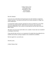 Temple Thank You Letter