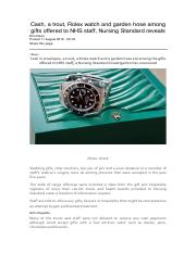 Cash, a trout, Rolex watch and garden hose among gifts offered to NHS staff, Nursing Standard reveal