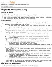MACROECON Chapter 13 - Money and Banking