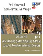 Anti allergy and immunosuppression 2015