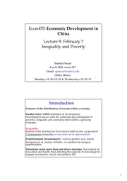 ECON 455 Lecture 9 Inequality and Poverty