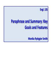 Summary and Paraphrase (Goals and Tasks)