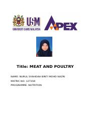 lab report meat and poultry