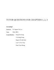 TUTOR QUESTIONS FOR CHAPTERS 1, 2, 3
