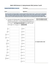 Math 1190 -- Practice Test for the Final