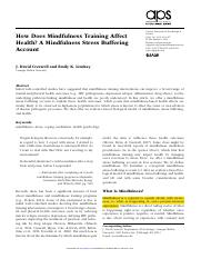19. Creswell 2014-How Does Mindfulness Training Affect Health? A Mindfulness Stress Buffering Accoun