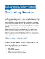 2.5.3 - Instruction - Elizabethan England Research Paper and Podcast - Evaluating Sources.docx