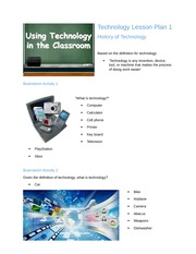 Technology Lesson Plan 1- History of Technology