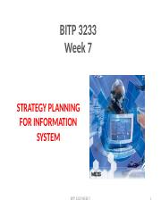 LECTURE 7 STRATEGY PLANNING FOR INFORMATION SYSTEM