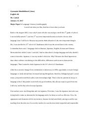 Oyunomin Juno, English 101 Major Paper 1