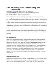 The Advantages of Outsourcing and Offshoring
