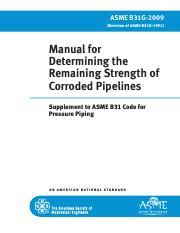 Manual for determining the remaining strength of corroded pipelines _ supplement to ASME B31 code fo