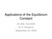 Lecture 6--Applications of the Equilibrium Constant
