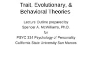 Trait, Evolutionary, Behavioral