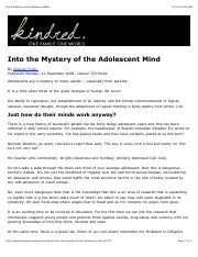 Into the Mystery of the Adolescent Mind