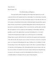 Reaction paper 11-4: Close Relationships and Happiness