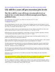 UK Still Five Years Off Pre-recession Jobs Levels - Solutions