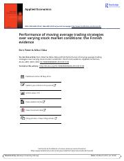 Performance of moving average trading strategies over varying stock market condition- the finnish ev