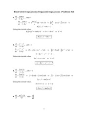 First-Order Equations, Separable Equations- Problem Set