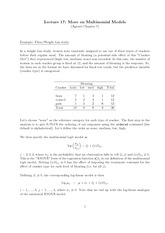 Stat 851 Multinomial Model Notes