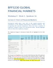 Users of Financial Markets Syndicate 1A Workshop 2