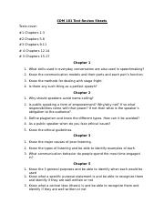 Test Review Sheets