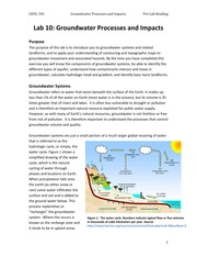 Lab 10 - Groundwater Processes