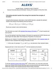 Calculating standard reaction free energy from standard free energies of formation