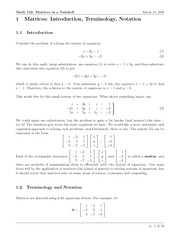 Math 152 Matrices Notes