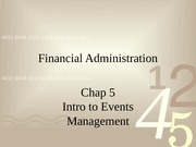 Tour 220 Intro to Event Management Lecture on Chapter 5 Finance