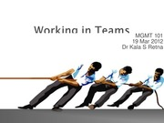 Lect 3 -Working in Teams 19 Mar 2012