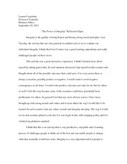 power of integrity reflection paper