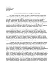 Texting and driving dangers essay