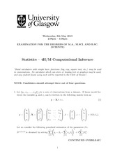 Computational Inference 2013 Degree Examination Questions