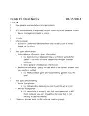 Behavior and Organization Notes