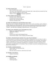Week 3 questions and answers biol1030