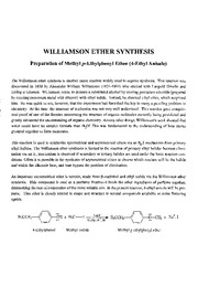 Williamson Ether Synthesis Fall 2010
