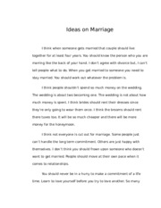 Ideas on Marriage