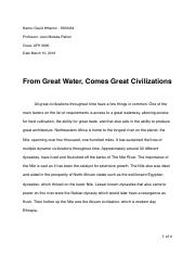 From Great Water, Comes Great Civilization
