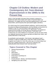Chapter 3.9 Outline- Modern and Contemporary Art- from Abstract Expressionism in the 1940s to the Pr