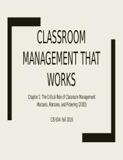 Marzano Chapter1 - The Critical Role of Classroom Management.pptx