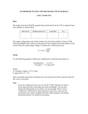 Tensile Test Lab Notes