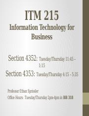 ITM 215 - Lecture 15 - Multiple sheet workbook mgmt.pptx