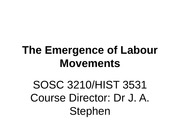 Lecture 8.The Emergence of Labour Movements