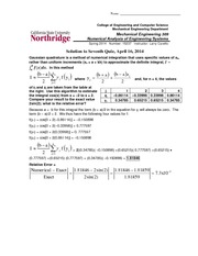 Quiz 7 Solution Spring 2014 on Numerical Analysis of Engineering Systems