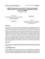 A Multi Perspective Approach for Understanding the Determinants of Cloud Computing Adoption among Au