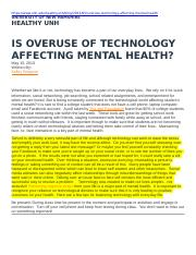 8  IS OVERUSE OF TECHNOLOGY AFFECTING MENTAL HEALTH