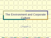 The Environment and Corporate Culture.Chapter 3